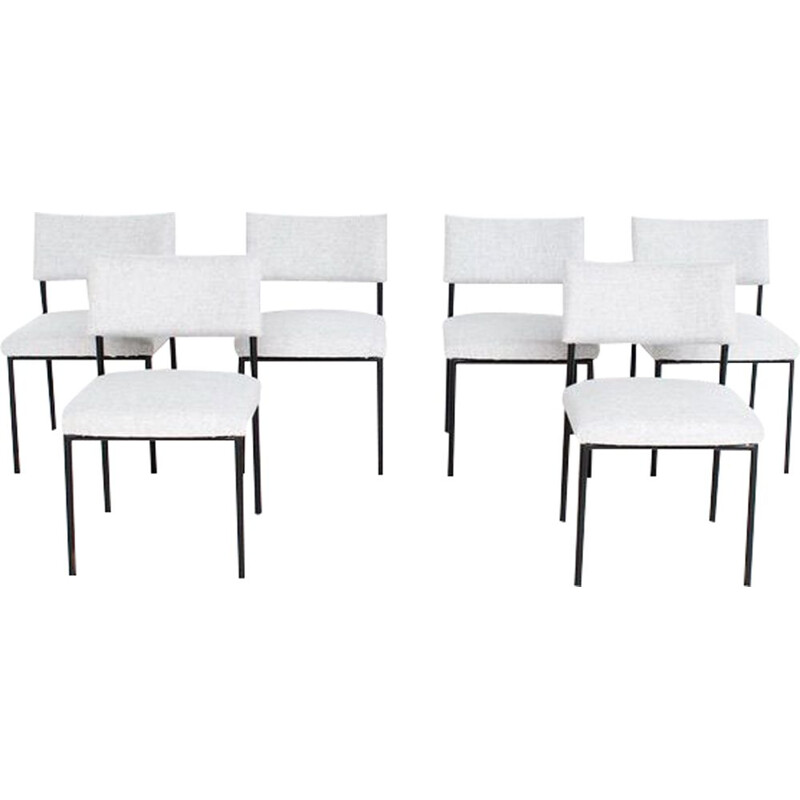 Set of 6 vintage chairs by Joseph André Motte, model 764, Steiner 1950