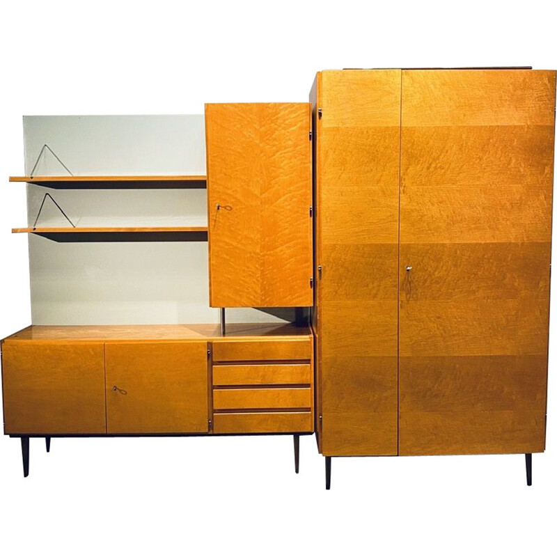 Pair of vintage veneered furniture a small wardrobe and a chest of drawers with shelves