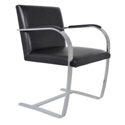 "Knoll ""Brno"" armchair in black leather, L. MIES VAN DER ROHE - 1960s"