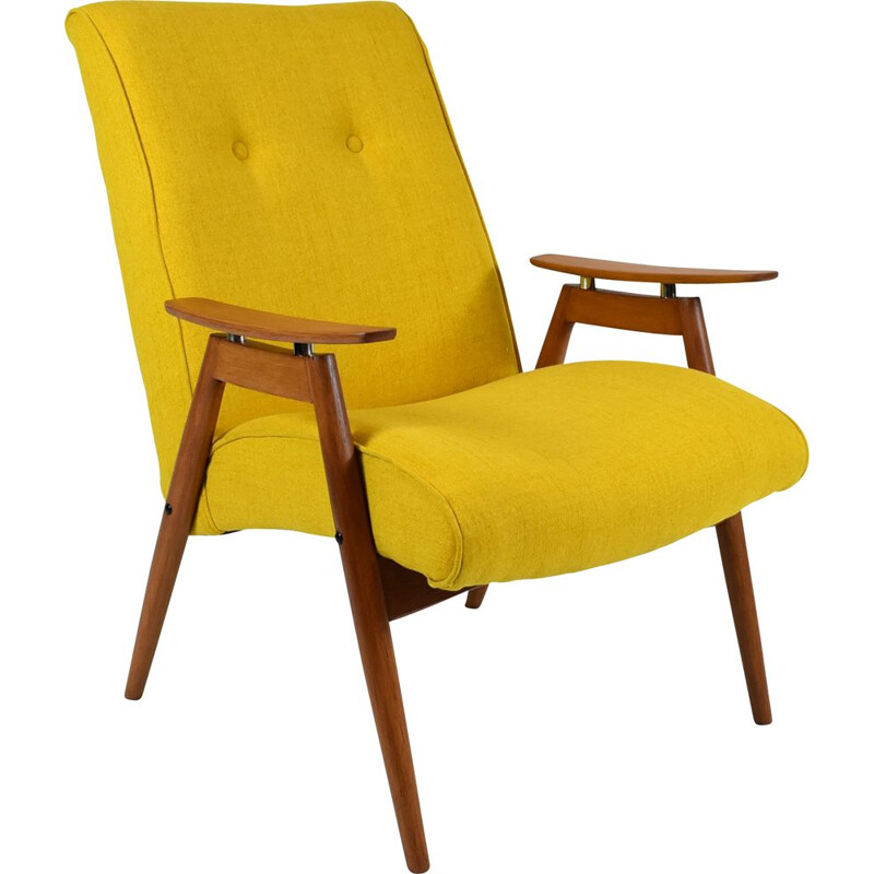 Vintage armchair J. Smidek, fully restored, yellow TON Czechoslovakia 1960s