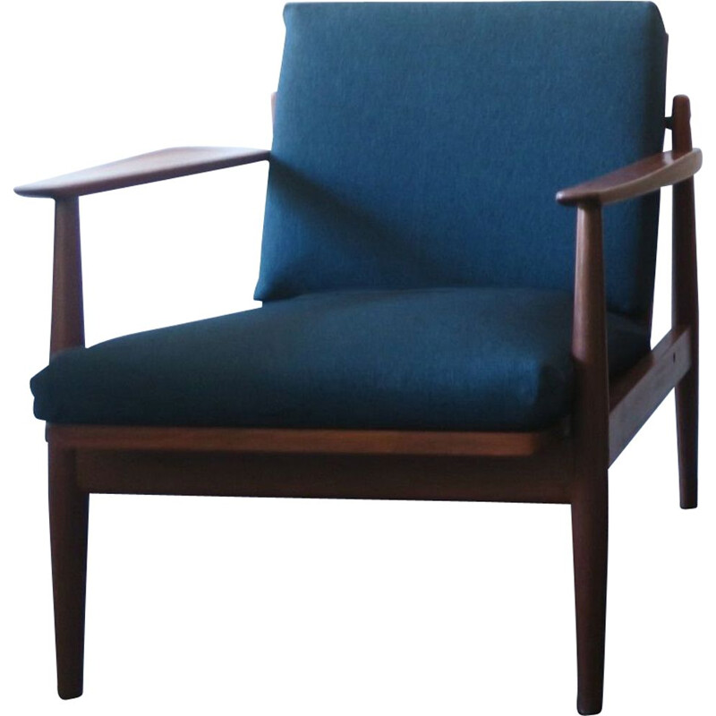 Vintage Teak Lounge Chairs Sea Blue Green Covers Danish 1960