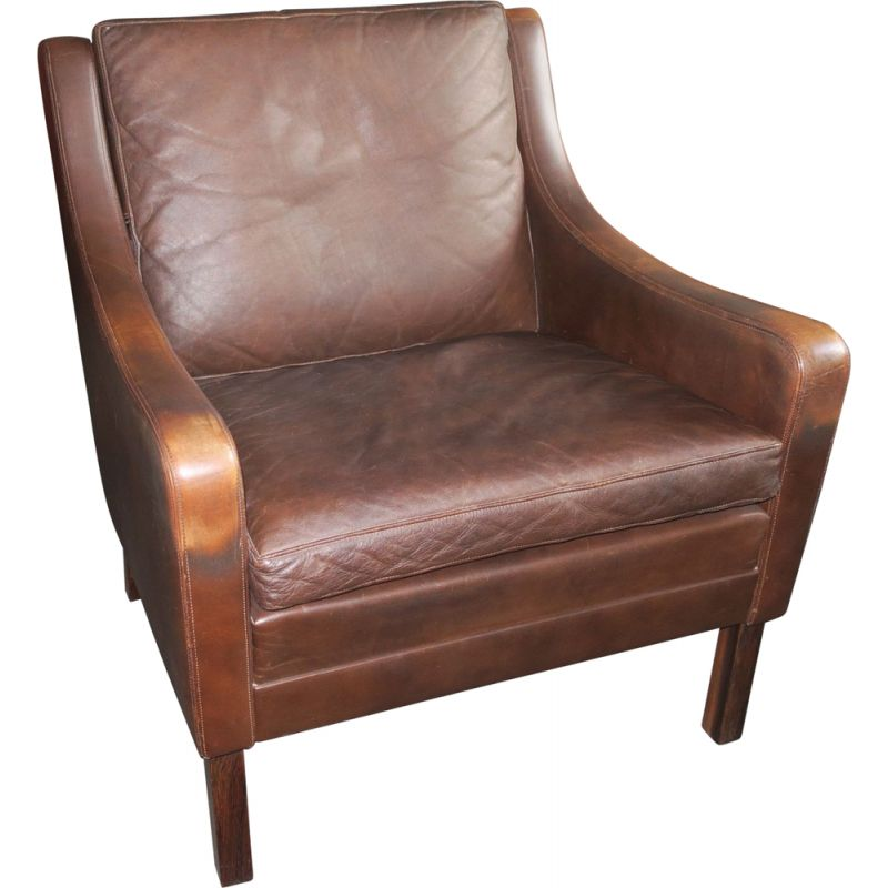 Vintage brown leather lounge armchair, rosewood, Denmark, 1960