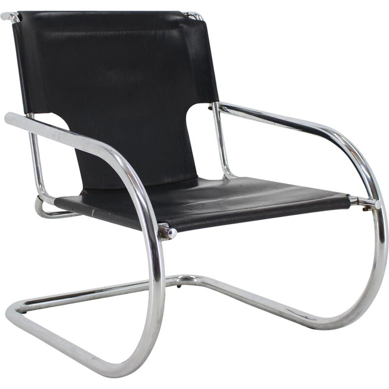 Vintage Arrben Chrome and  Leather Cantilever Chair, Italy 1960s