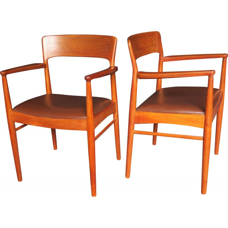Pair of Mid-Century Teak and Leather Carver Armchairs Danish 1960