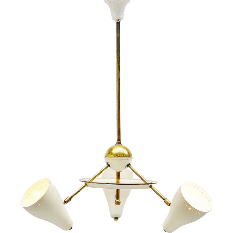 Vintage ceiling lamp white and brass shades pItalian 1950