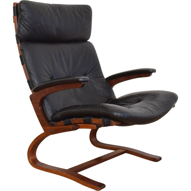 Mid-Century  Lounge Chair by Elsa and Nordahl Solheim for Rybo Rykken & Co Norwegian 1970s