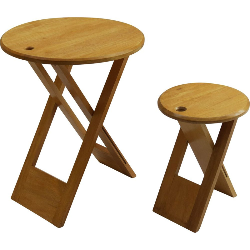 Vintage Folding Wooden Stool And Table Of Suzy Stool By Adrian Reed