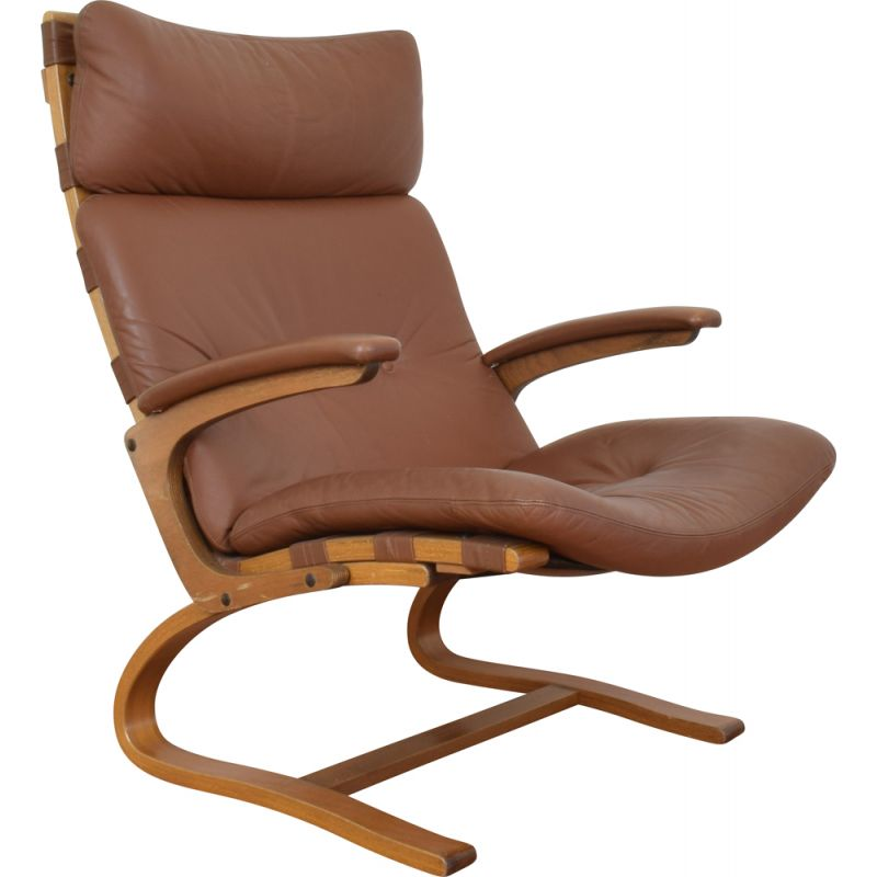 Vintage lounge armchair by Elsa and Nordahl Solheim for Rybo Rykken & Co Norwegian 1970