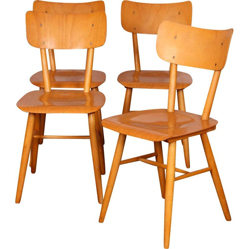 Set of 4 vintage wooden chairs edited by Ton, 1960