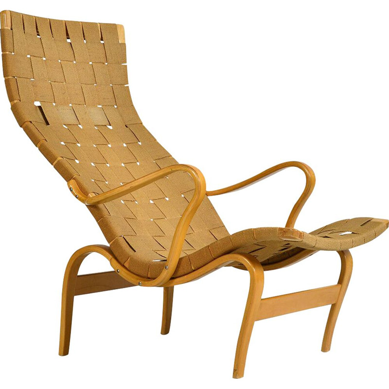 Midcentury Beech Bruno Mathsson Pernilla Lounge Chair Bentwood Karl Mathsson Swedish 1940s