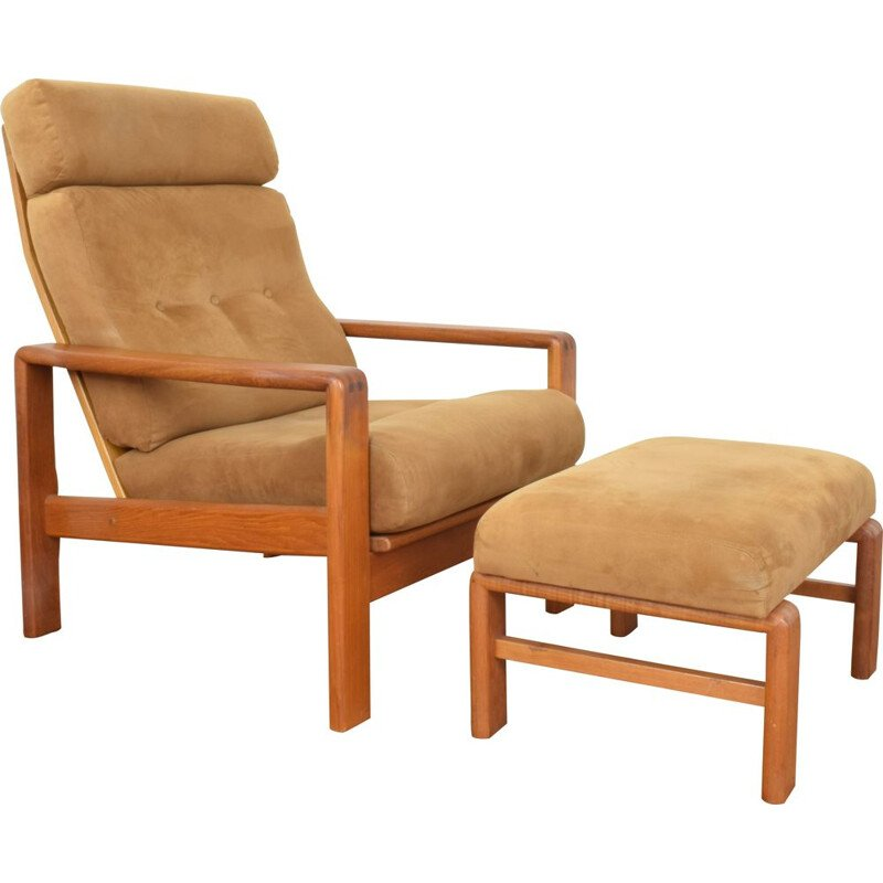 Mid-Century  Teak Armchair with Ottoman from Dyrlund Danish 1970