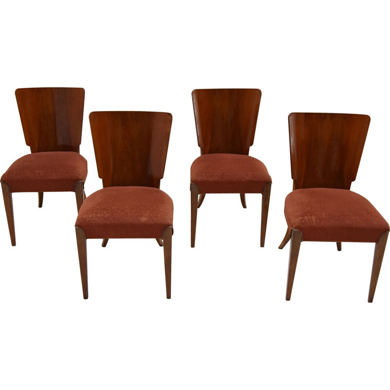 4 Art Deco vintage chairs by Jindrich Halabala for Thonet