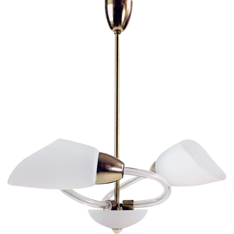Midcentury Ceiling Light In White Glass And Brass, Czechoslovakia 1960s