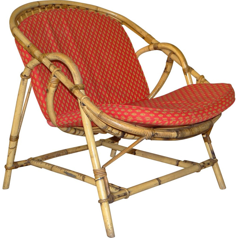 Set of 4 rattan armchairs