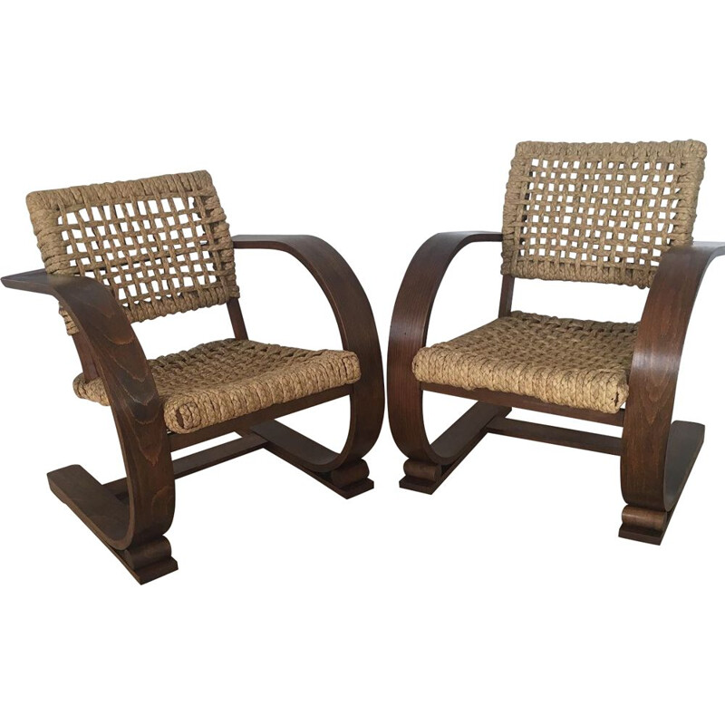 Pair of vintage armchairs by Audoux Minet 1960