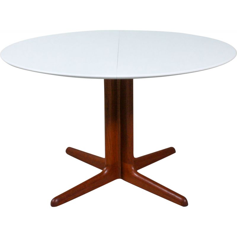 Vintage round dining table in teak and white Danish teak 1960
