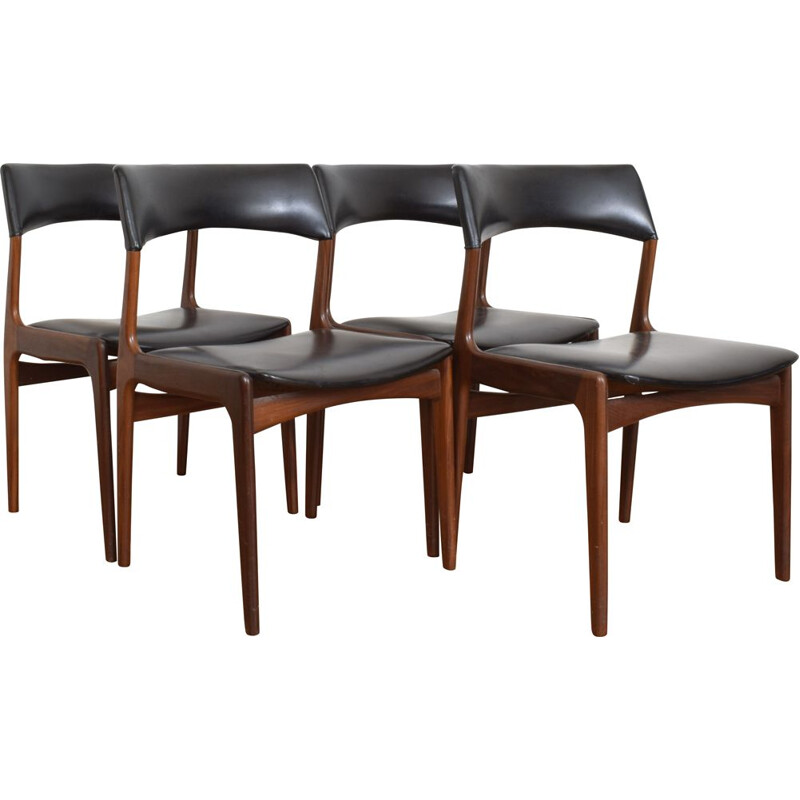 4 Vintage teak chairs from Mahjongg Vlaardingen, 1950
