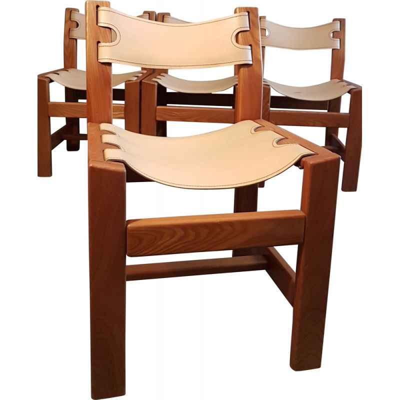 Set of 4 vintage Leather and elm chairs
