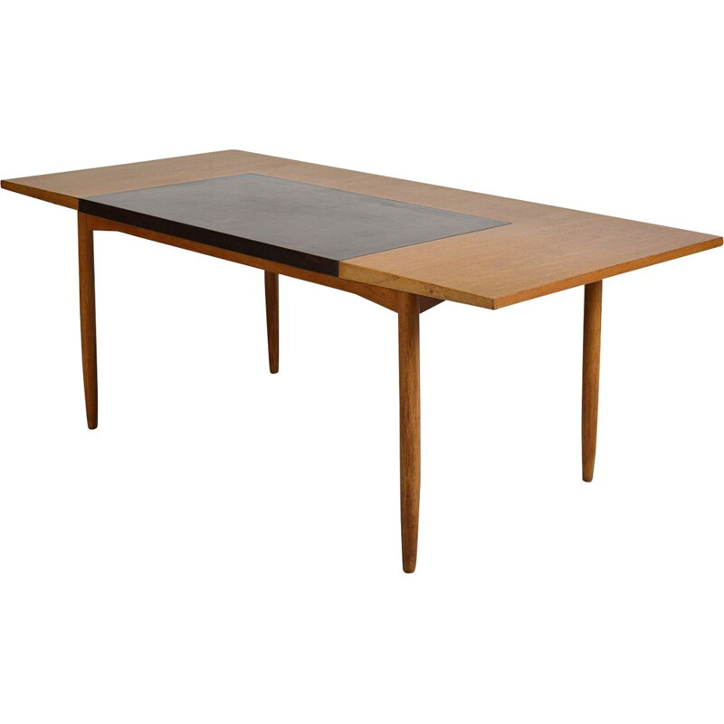 Vintage Office Desk By Heals Designed by Robert Heal Midcentury Writing Table Teak Wood Leather English 1950s