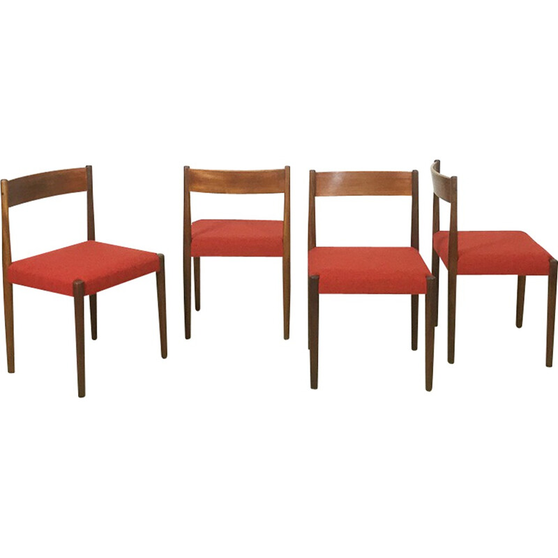 Set of 4 Frem Rojle walnut dining chairs, Poul VOLTHER - 1960s