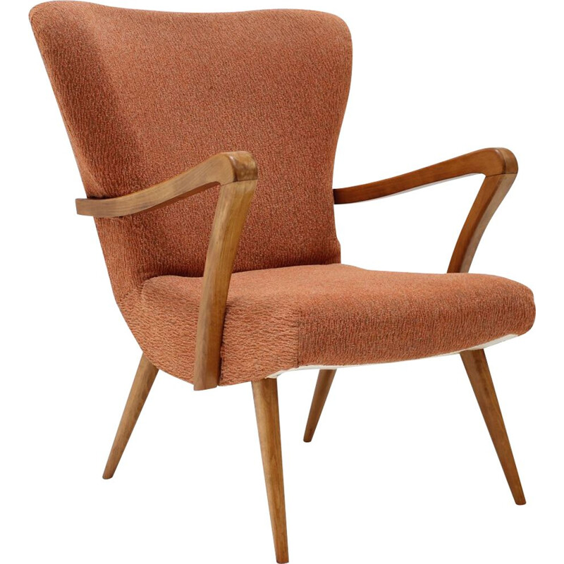 Mid-century wing chair, Czechoslovakia 1960s