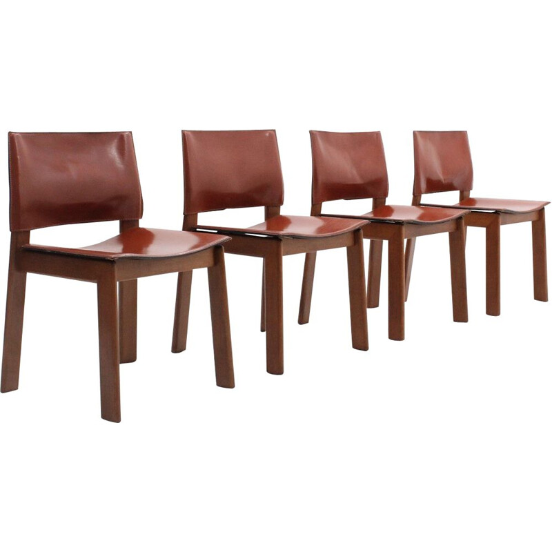 Set of 4 vintage Gavina cognac leather dining chairs 1970s