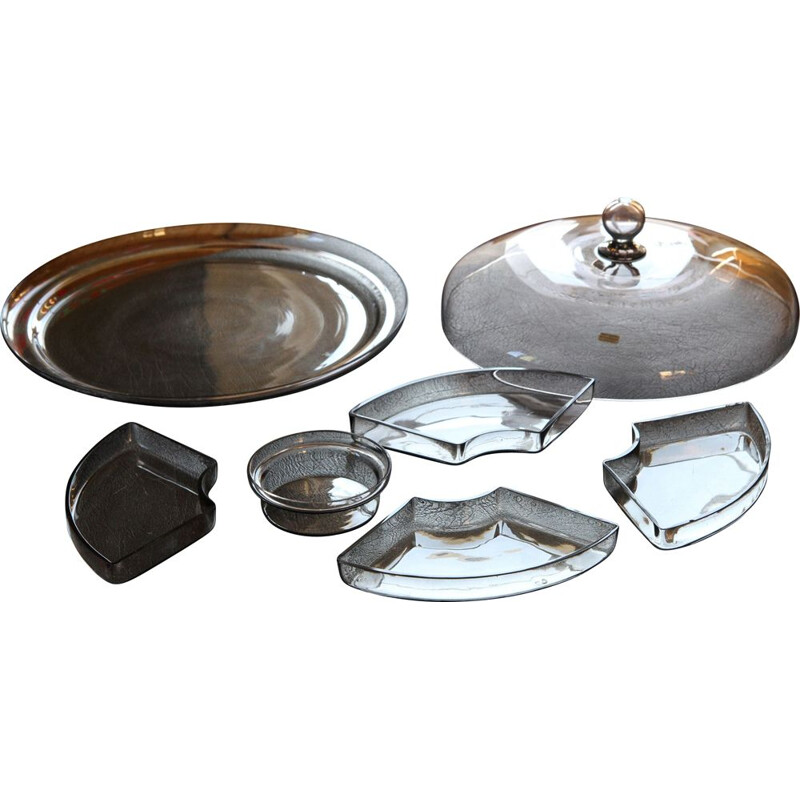Vintage 7-piece Serving Tray is a one piece by Vicke Lindstrand for Orrefors 1930