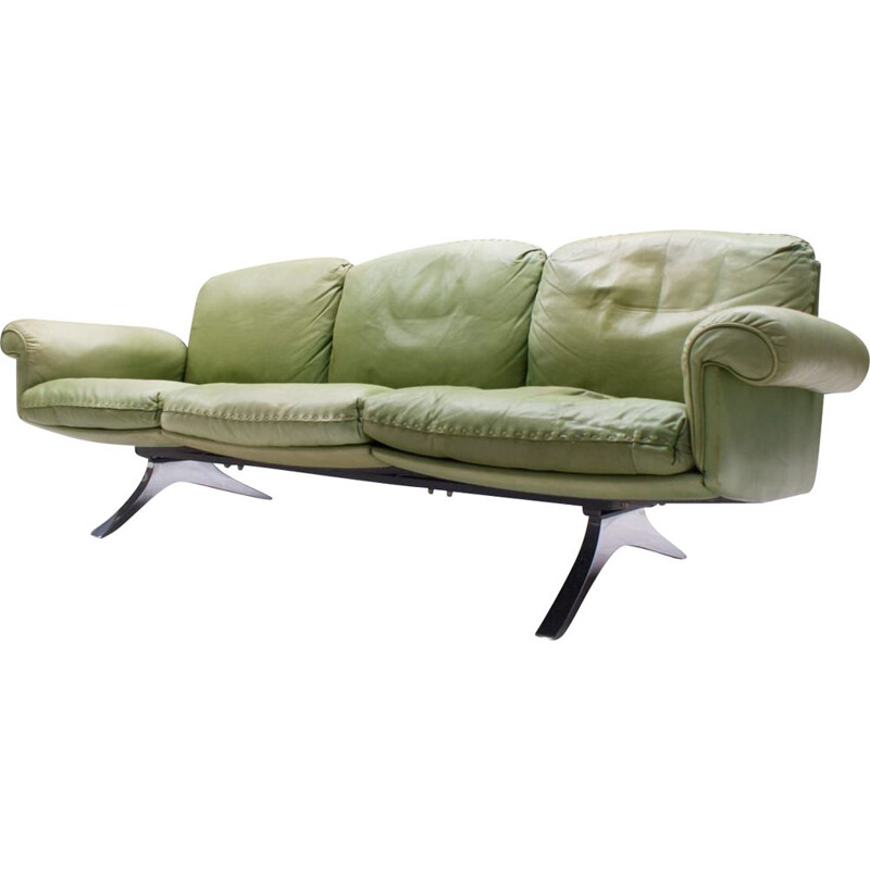 Vintage Green 3-Seater Model DS31 Sofa from de Sede, Swiss 1960s