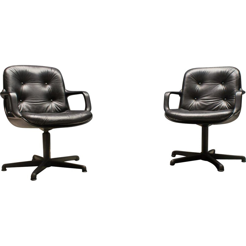 Pair of vintage Leather Desk Chairs by Charles Pollock for Comforto, 1960s