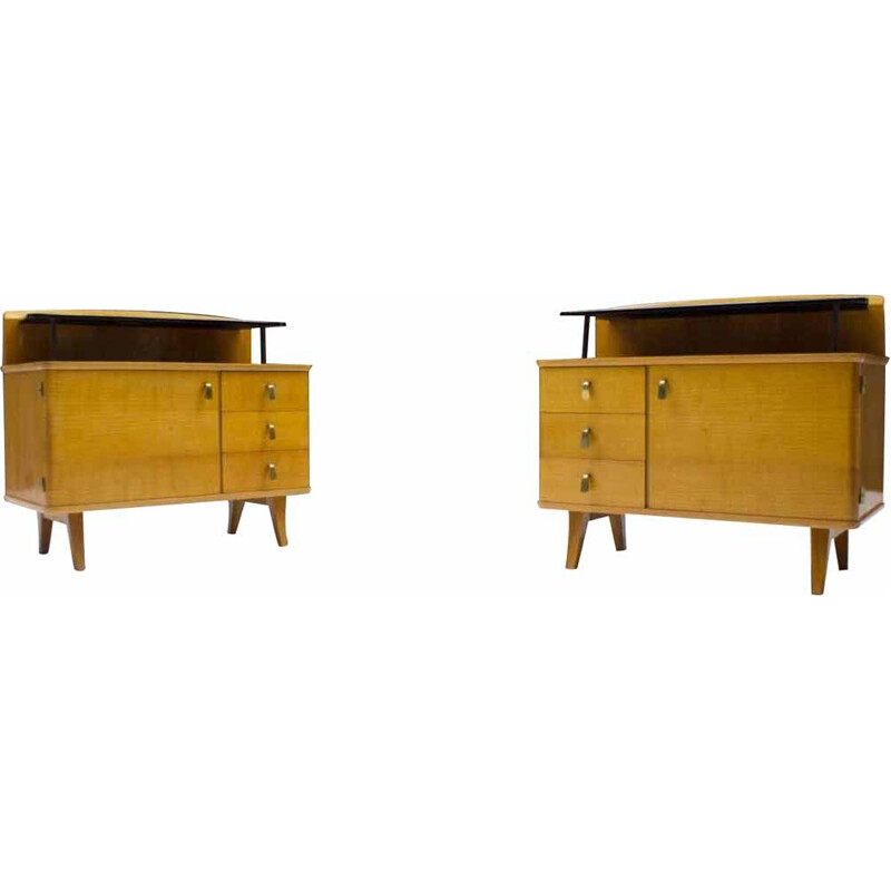 Pair of Mid-Century Chest of Drawers with Black Glass, 1950s