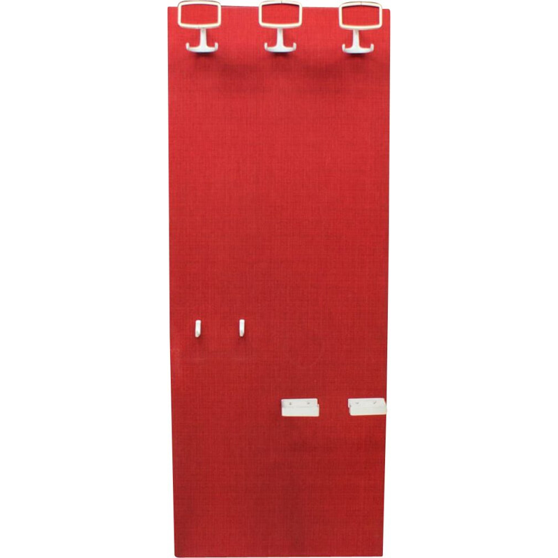 Vintage Red and White Wall Coat Rack, Space Age 1960s