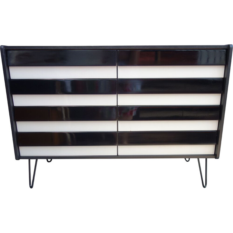 Vintage Black on Hairpin legs Jiroutek sideboard 1960s