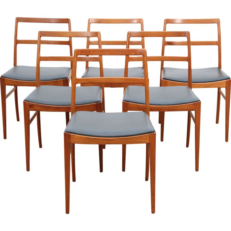Suite of 6 vintage Scandinavian teak chairs