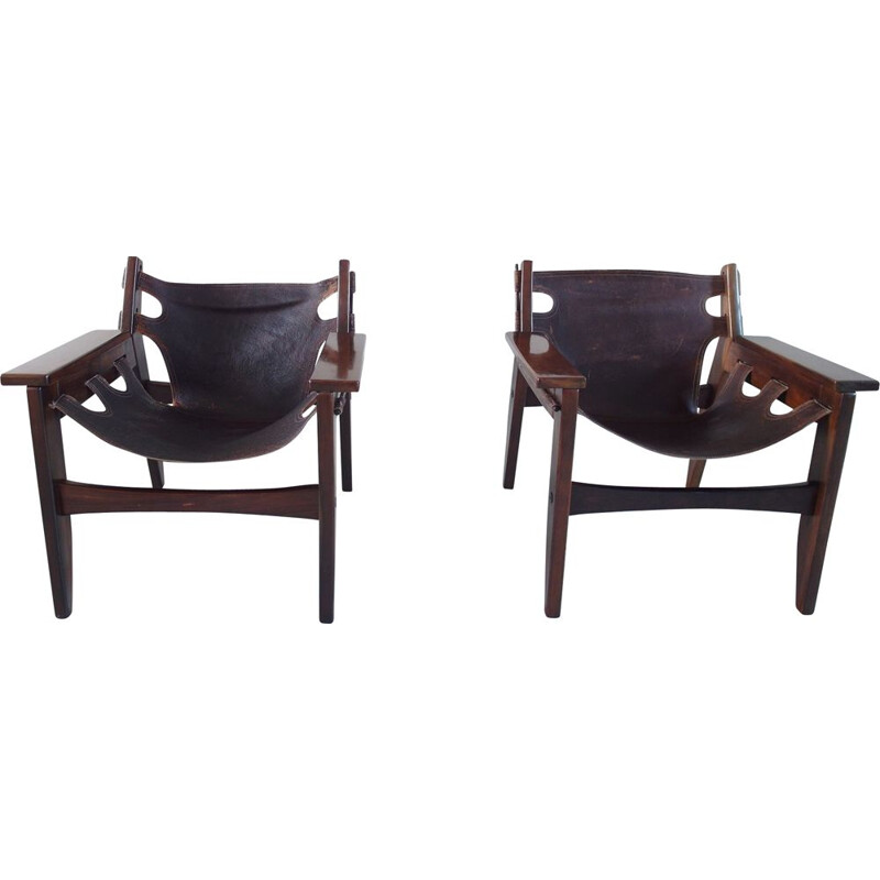 Pair of vintage Sergio Rodrigues Kilin Lounge Chairs for Oca, Brazil, 1973