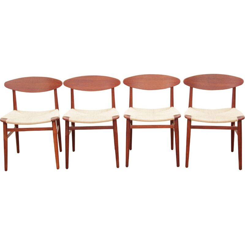 Suite of 4 vintage teak chairs Scandinavian