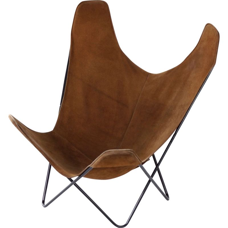 Vintage BKF Butterfly Chair by Jorge Ferrari-Hardoy, Juan Kurchan and Antonio Bonet, Brown Suede 1970s