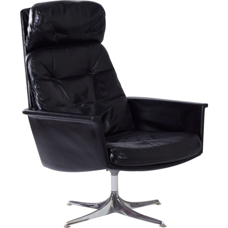 Vintage Sedia Swivel Chair by Horst Brüning for Cor, Black Leather 1960s