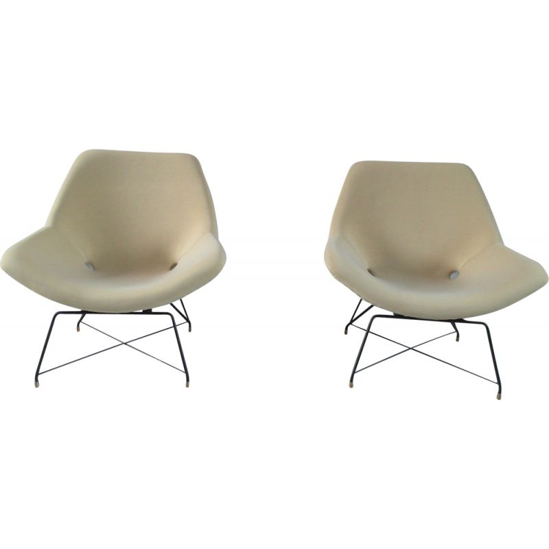 Pair of Vintage Sculptural Pair of Lounge Chairs by Augusto Bozzi for Saporiti, Italy, 1954