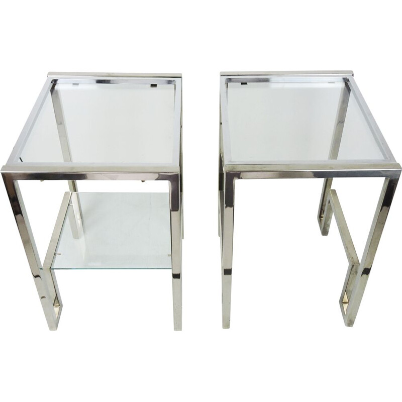 Pair of vintage Chrome and Glass Bedside Tables, 1970s