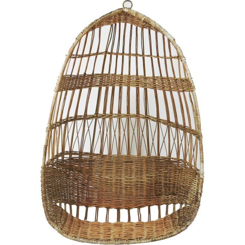 Vintage Woven Rattan Hanging Egg Chair, 1960s