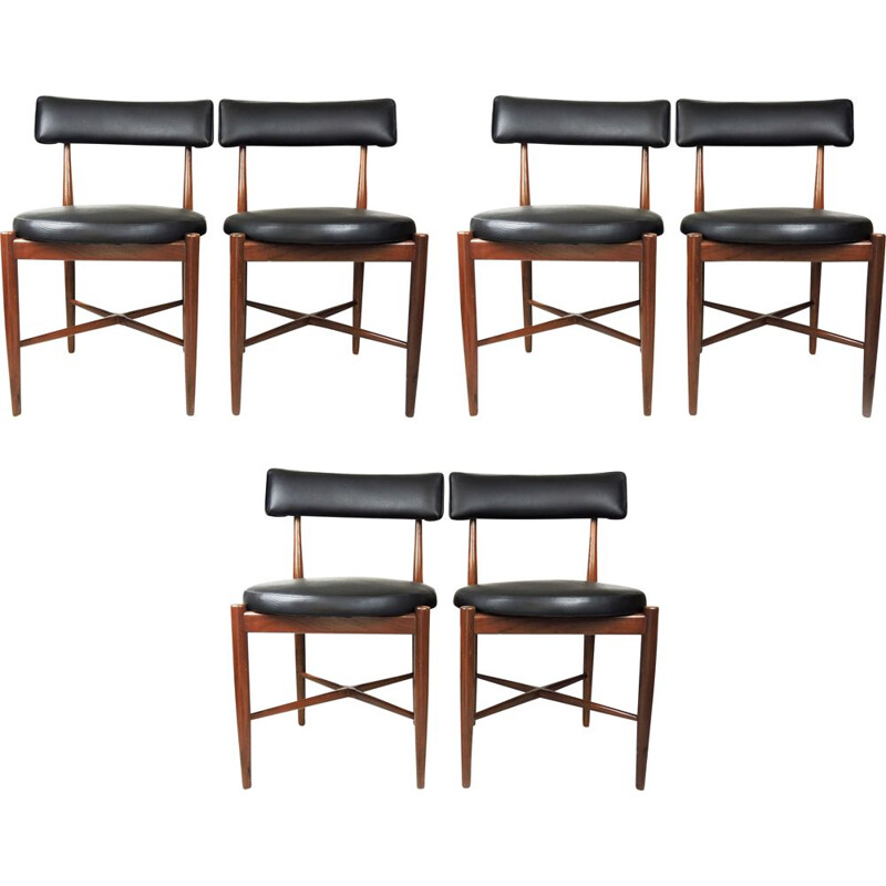 Set of 6 Mid-Century Teak and Vinyl Dining Chairs by G-Plan 1969