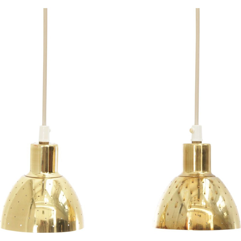 Pair of small Scandinavian vintage brass suspensions by Hans-Agne Jakobsson