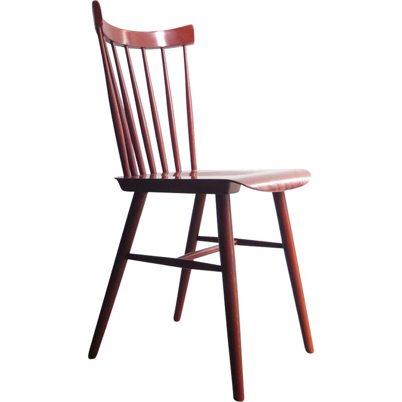 Vintage Red wooden chair Scandinavian 1950s