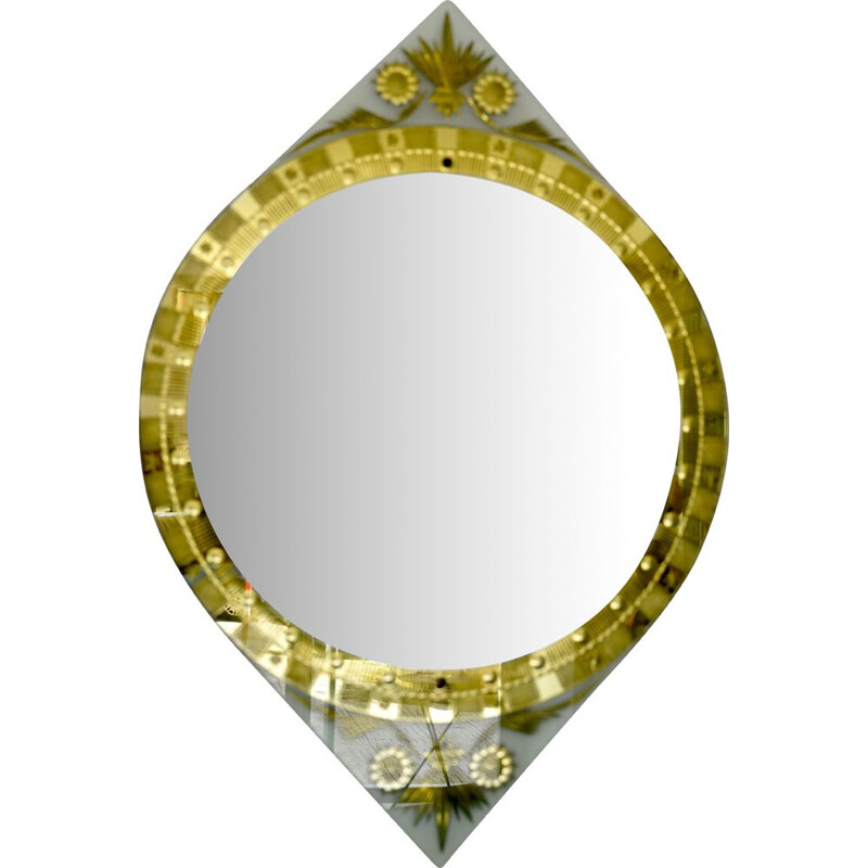 Vintage mirror carved in gold by Cristal Art Italy 1960