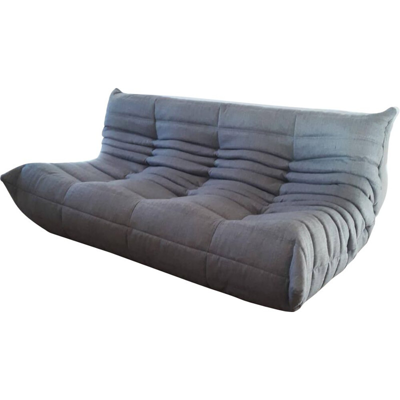 Vintage Togo bench Ligne Roset  in anthracite grey woollen fabric