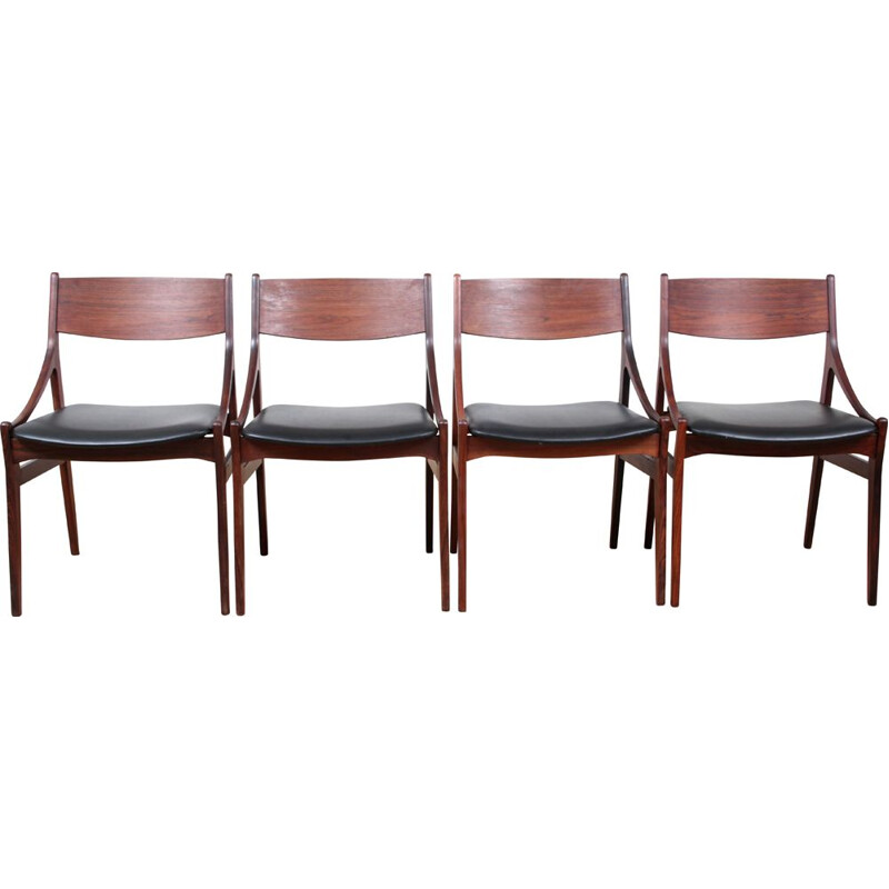 Suite of 4 vintage chairs in Scandinavian Rio rosewood 1960