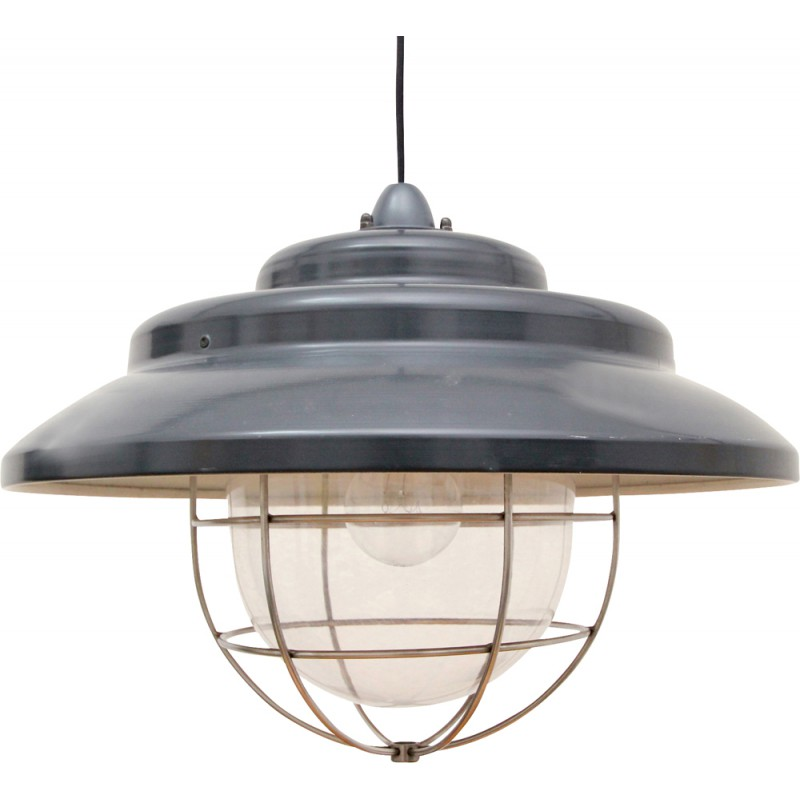 Mid-century industrial hanging light in metal and plastic - 1970s