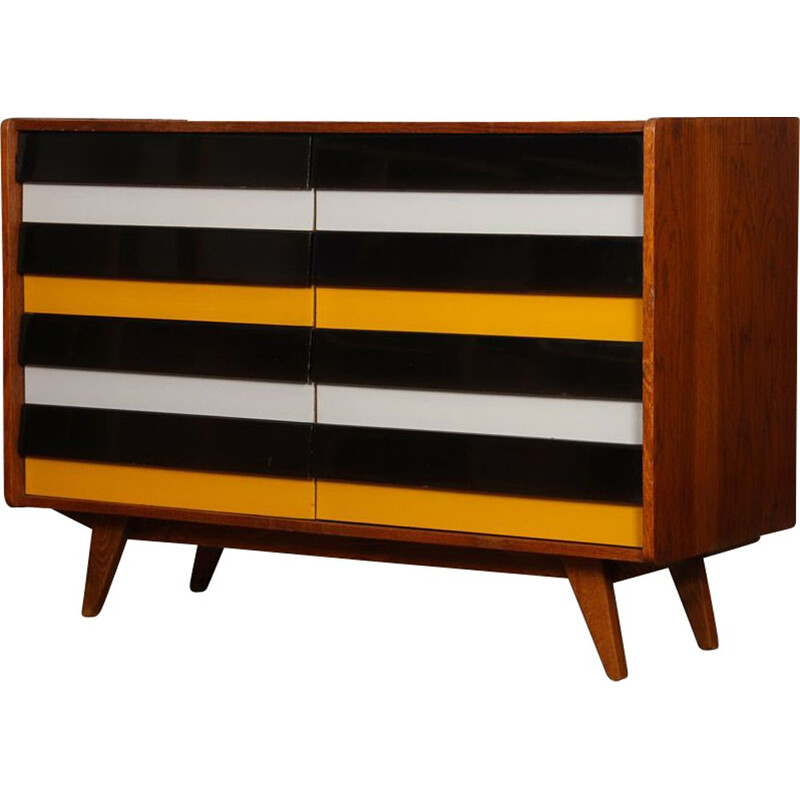 Vintage chest of drawers U-453 yellow and black, by Jiri Jiroutek, 1960
