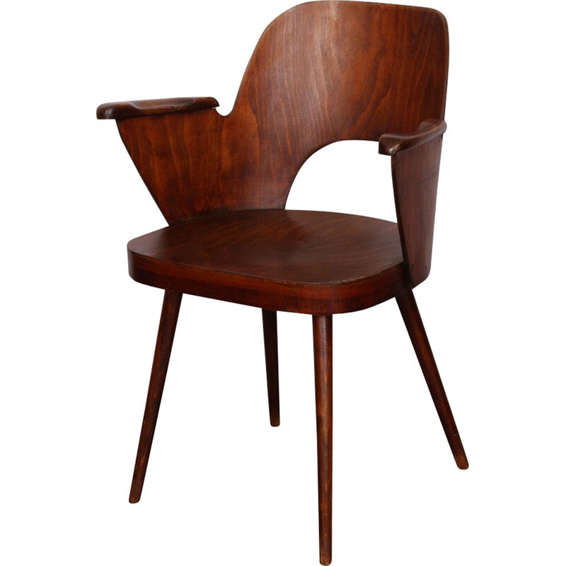 Vintage wooden armchair stained by Lubomir Hofmann for Ton, 1960