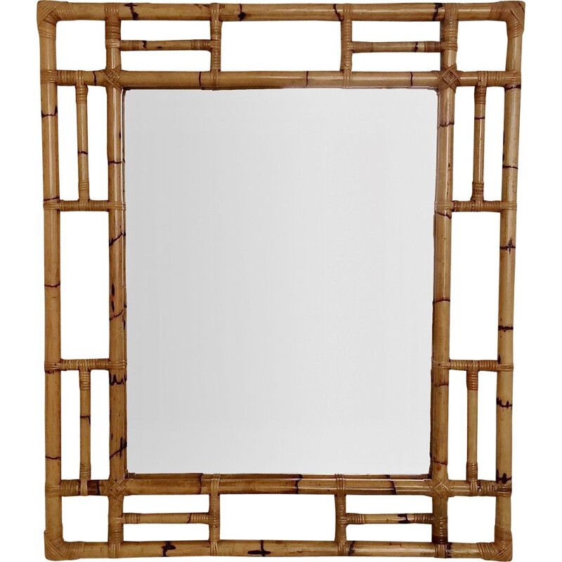 Large decorative vintage bamboo mirror, Italy 1970